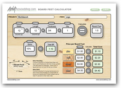 Project Calculator - Board Feet Calculator