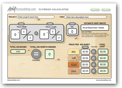 Project Calculator - Plywood Calculator